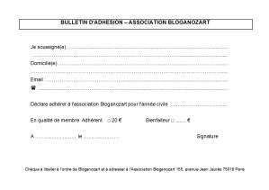 Bulletin d'adhésion Bloganozart
