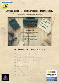 Affiche atelier d'écriture 2017-2018